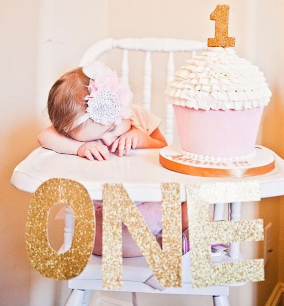 High Chair Banner Gold ONE 1st Birthday By SweetPeaPartyDecor