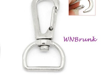 Closing Sale 5 Carabiner Swivels- Silver- 40x21mm-Key Ring