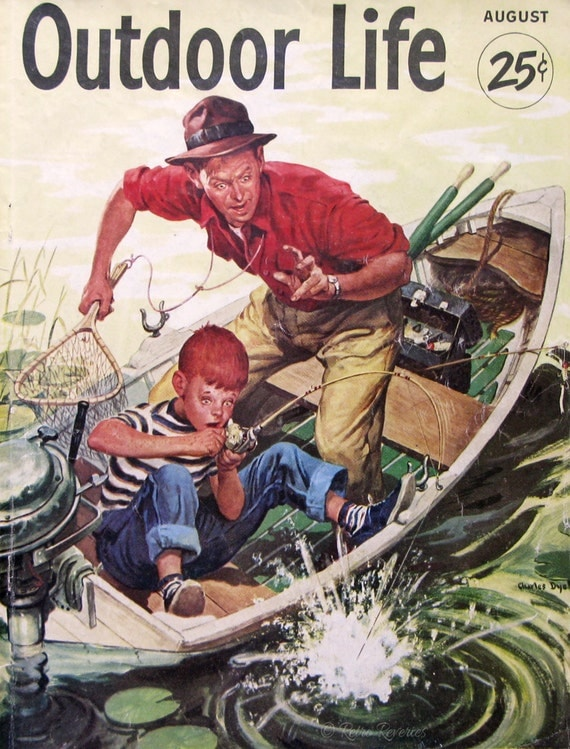 1953 Outdoor Life Magazine Cover 1950s Father And Son