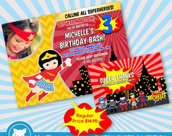 50% OFF SALE  Wonder Woman Invitation for Superhero Birthday Party, Superhero Birthday Invitation- Printable Digital File