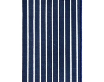 Navy Blue and White Stripe Pocket Square
