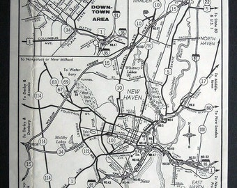 Vintage mini map of New Haven