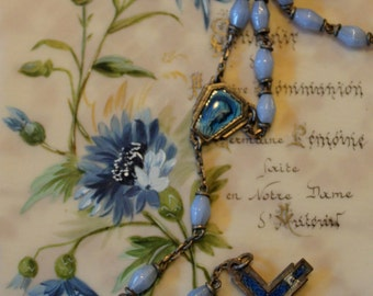 Antique French communion card with light blue rosary.