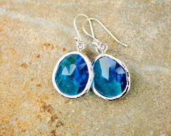 Cobalt Blue Earrings Bright Blue Earrings Sapphire Earrings Silver Earring Crystal Drop Earring Dangle Earring Bridesmaid Gift for Her Glass