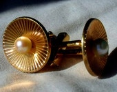 Swank Cufflinks Mid Century  - Pearl and 12k Gold Filled Cuff Links  - Stunning Gold and Pearl Grooms Cuff-Links