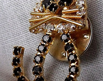 Vintage Rhinestone Cat Pin - Pet Lover's Cat Brooch - Gold Tone Pin with Black and Crystal Rhinestones