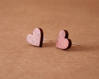 Wooden Heart Earrings Valentines Day Present