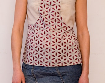 SALE - 30% OFF - Argouse: a cotton top with curved sleeves - block printed fabric - fair trade produced