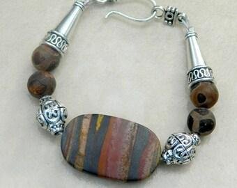 Boho Tiger Iron Jasper Bracelet, Tibetan Agate Turtleback Gemstones, Gemstone Bracelet, Beaded Bracelet, Gypsy Bracelet, Tribal Bracelet