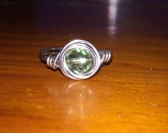 Green Wire Wrapped Glass Bead