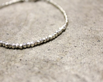 Silver Geometric Pyrite Stones Bracelet