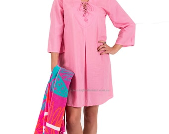 Beach Cover-Up Cotton with Zipper Pocket - Pink by Spirituelle