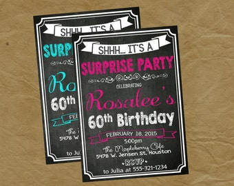 Surprise Adult Birthday Party Invitation - Any Age AND Color- 40 50 60