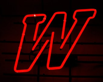 Vintage Red Letter W Neon Sign Man Cave Bar Wisconsin Winston Letter Mancave Lighted Old Retro Game Room Playroom