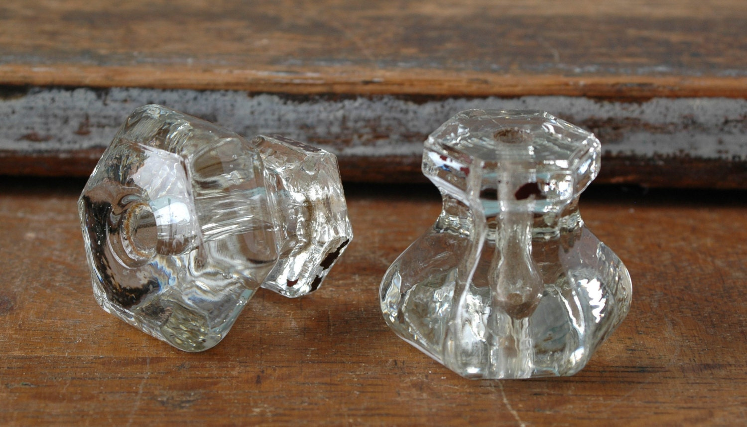 Set Of 2 Cut Glass Drawer Pulls Clear Transparent Drawer Pull Six Sided Knobs