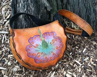Leather Handbag Flower Design