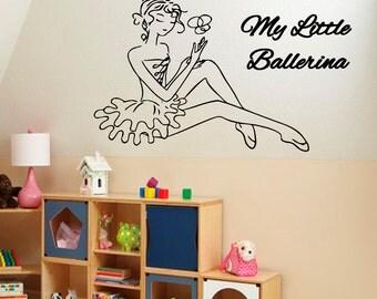 Ballerina Wall Decals Ballet Decal My Little Ballerina Vinyl Sticker Girl Room Wall Decor Home Decor Vinyl Art Girl Nursery Room Decor KG191