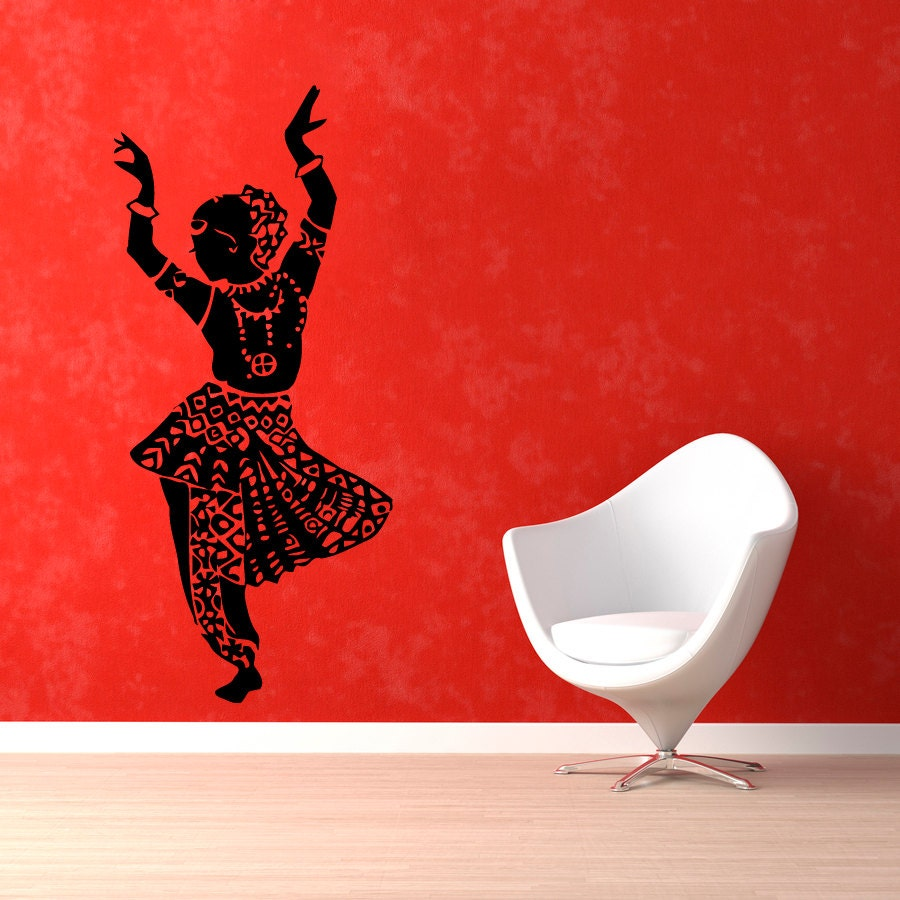 Indian woman wall decals belly dance girl dancer gym dance - Decoration mural design ...