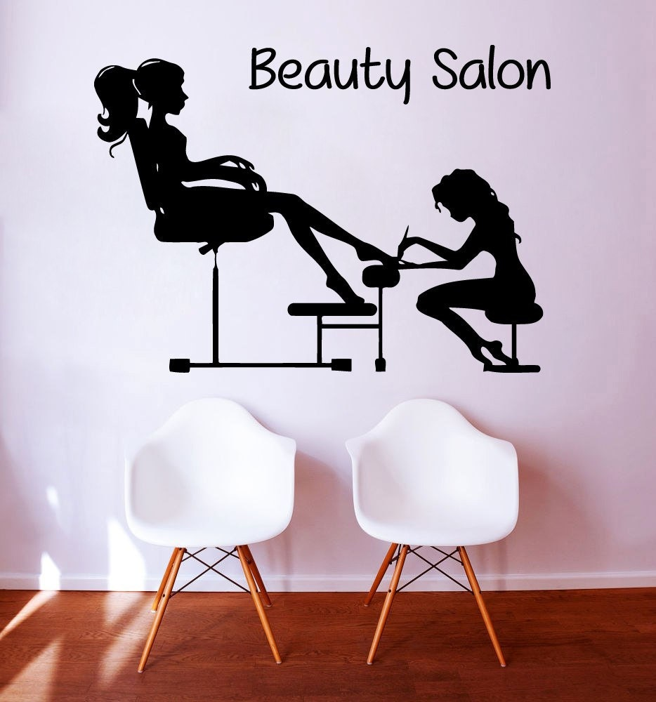 Pedicure wall decals fashion girl nails manicure cosmetics for Stickers salon design