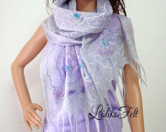 Cobweb Felted Wool Scarf Shawl Wrap Light GRAY LAVENDER