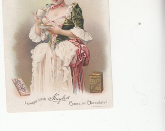 Ephemera Advertising Tradecard Huylr's Cocoa Or Choclate Pretty Woman On Front