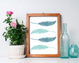 75% OFF SALE - Feather Print  8x10 - Printable Art, Home Decor, Vintage, Mint Green, Wall Art, Nursery Art, Nursery Decor, Wall Art