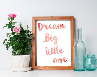 75% OFF SALE - Dream Big Little One - 8x10 Nursery Decor, Nursery Art Print, Baby Boy Nursery, Printable Nursery Wall Art, Baby Room