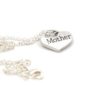Mother Necklace, Charm Jewelry, Mom Charm, Mother Charm Necklace, Mom Pendant, Everyday Jewelry, Mother's Day Gift, Gift Under 10