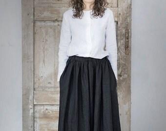 Long linen skirt. Washed linen skirt. Wide skirt. Women skirt. Black skirt.