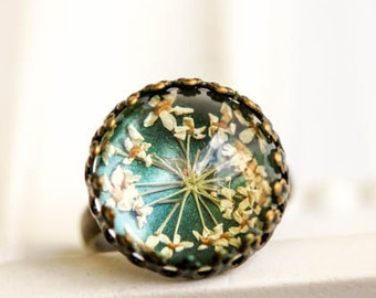 Flower Ring, gift for woman, friendship jewelry, Real flower ring. terrarium ring, real dried flower, Mother's Day, gift for her