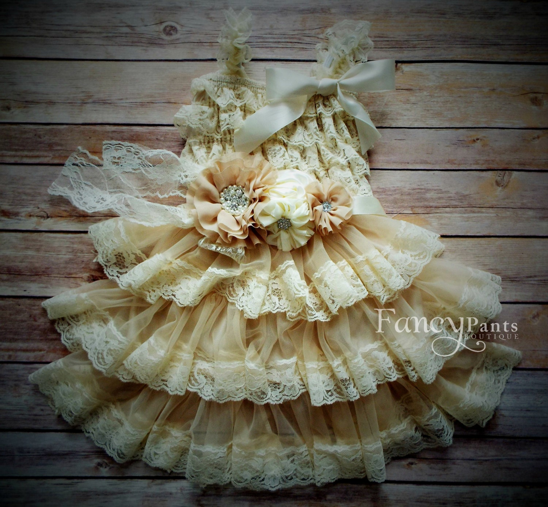 Rustic Flower Girl Dress Lace Petti dress Rustic by byFancyPants