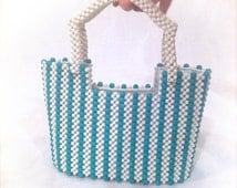 Beaded 1960s purse, 60s mod mini tote bag small wood hard case aqua blue handbag 70s 1970s 50s purse little girls purse Enid Collins vintage