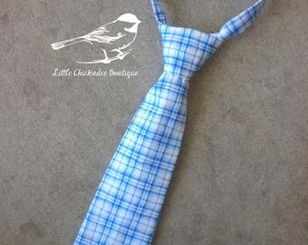 Boys plaid tie Toddler tie Infant tie Baby tie 6-12M 12-18M 24M/2t 3t 4t 5 6 7 8 Blue and white plaid Summer tie Velcro tie Formal tie
