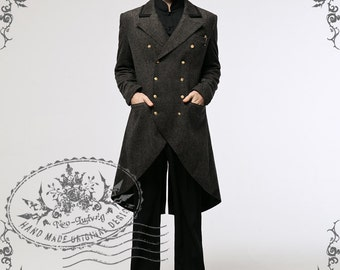 Steampunk Dandy Retro Military Inspired Double-Breasted Wool Blend Tuxedo Coat