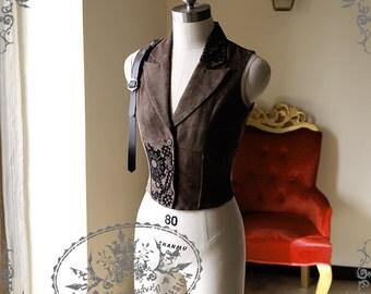 Exclusive Designer Fashion, Neo-ludwig Steampunk Steel Boned Suedette Corset Vest