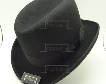 VINTAGE Wool Felt Formal Dura Homburg Top Hat - Black