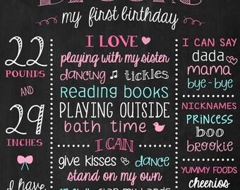 First Birthday - Printable 1st Birthday Sign - Birthday Banner - Chalk Board Pink and Turquoise Birthday - Pink Aqua Chalkboard Poster