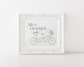 Printable Art Bike Print Beautiful Ride in Green and Grey // wedding decor, bridal shower  // wall print, wall decor // Hewitt Avenue