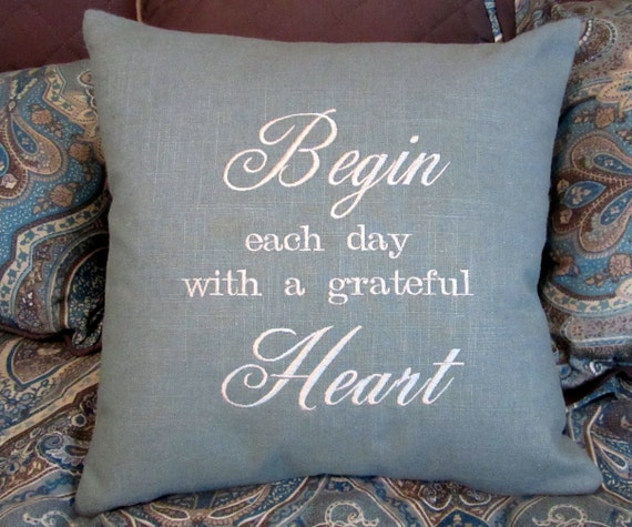 Embroidered pillow decorative quote sayings