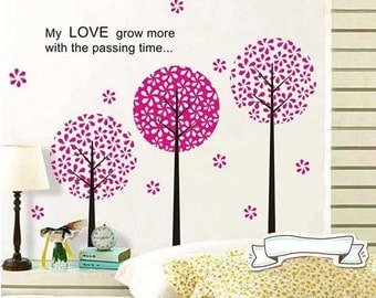 Cherry blossom trees wall decal - Love quote wall sticker - Pink trees - Home decor