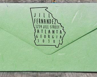 Georgia Address Stamp, Self-Inking Address Stamp, Georgia Stamps,  State Stamps