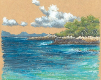 """Travel sketch """"CAP D'ANTIBES"""", signed print, French Riviera landscape drawing"""