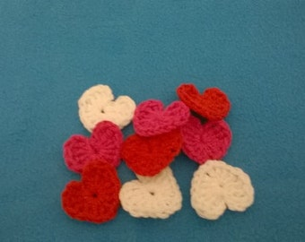 Pack of 9 hearts n three color, red pink and white,crocheted hearts,embellishments,for Valentine's Day, your choice of color