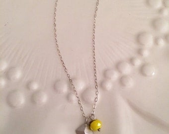 Dainty silver charm necklace, Yellow and silver geometric charm, Sterling silver chain