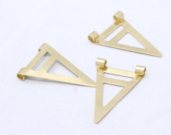 Raw Brass Triangle Charms 17x25mm, Triangle Pendant, Cut out triangle, Chevron, AE66