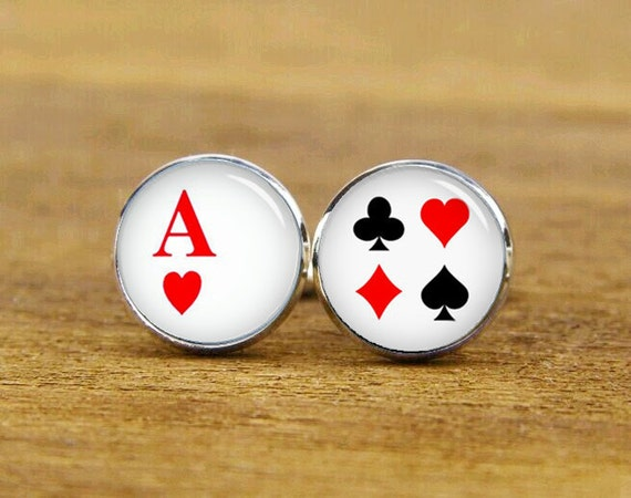 poker cards cufflinks, playng cards cufflinks, custom poker cufflinks, round glass cuff links, square cufflinks, tie clip or a matching set
