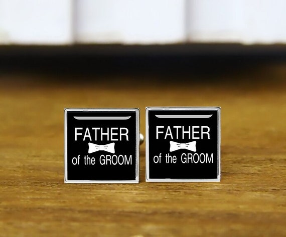 father of the groom cufflinks, custom name or date, custom your photo, custom wedding cufflinks, round, square cufflinks, tie clips, or set