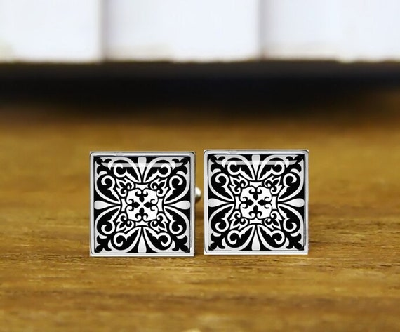 moroccan tile cufflinks, white and black, can inlay initials, personalized cufflinks, wedding cufflinks, round, square cufflinks, tie clips