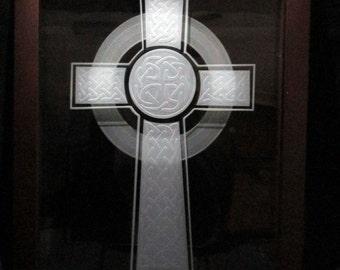 Sand Carved Celtic Cross Etched Glass Frame