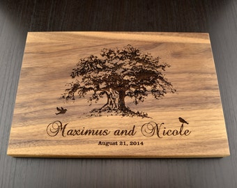 Engraved Cutting Board Tree, Custom Wedding Gift, Personalized Anniversary Gift, Housewarming Gift, Wood Chopping Block, Valentines Day Gift